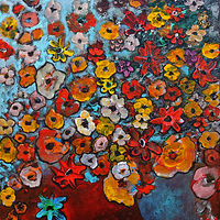 Acrylic painting Full Room of Flowers by Svetlana Barker