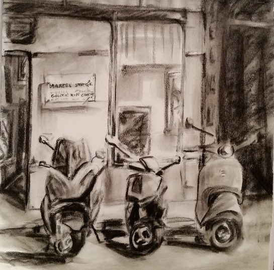 (c) 2015 Lully Schwartz, 'Drawing Paris' Charcoal 10 x 10 inches by Lully Schwartz