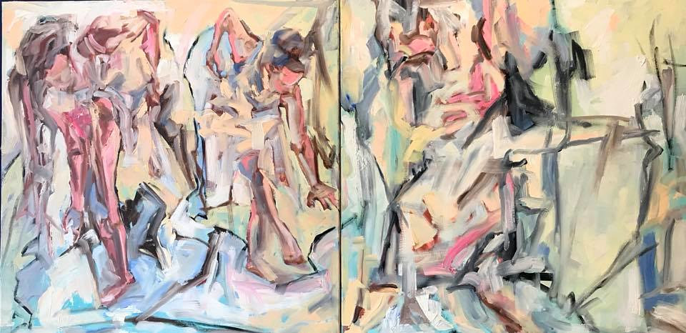 (C) 2018 _ Lully Schwartz_Myth of the Graces_oil on linen_diptych_30 x 60 inches by Lully Schwartz