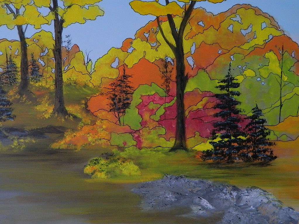 Acrylic painting Autumn Flash by Vicki Allesia