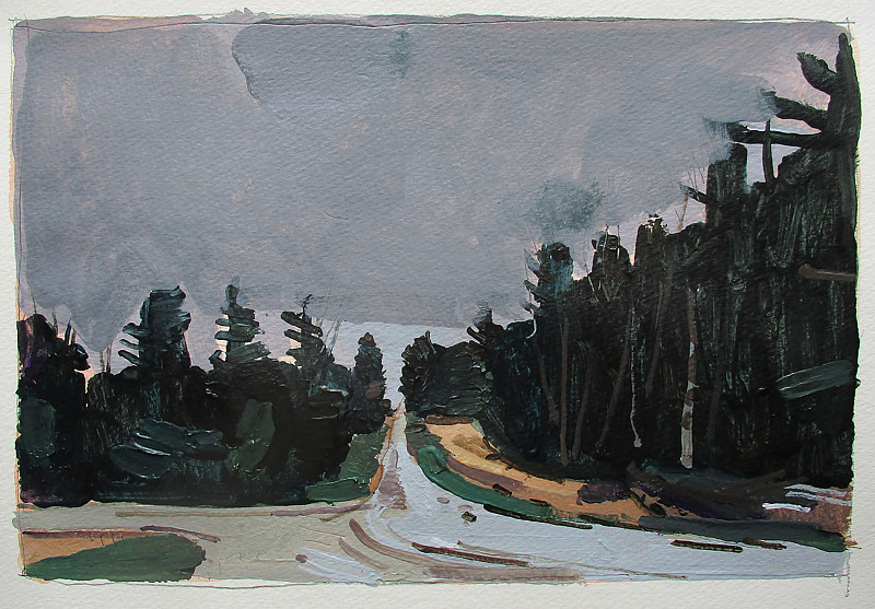 Acrylic painting Forest Road by Harry Stooshinoff