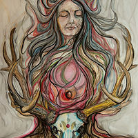 Watercolor Wild Woman by Cary Wyninger