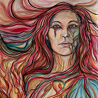 Watercolor Fire Woman by Cary Wyninger