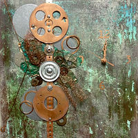 Painting Copper Clock by Linda Cohen