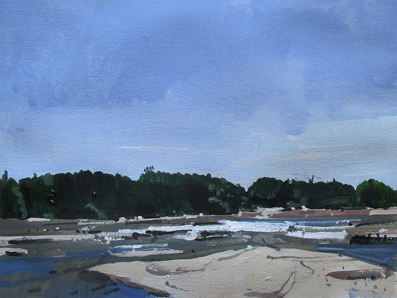Acrylic painting Crowe River Flats by Harry Stooshinoff