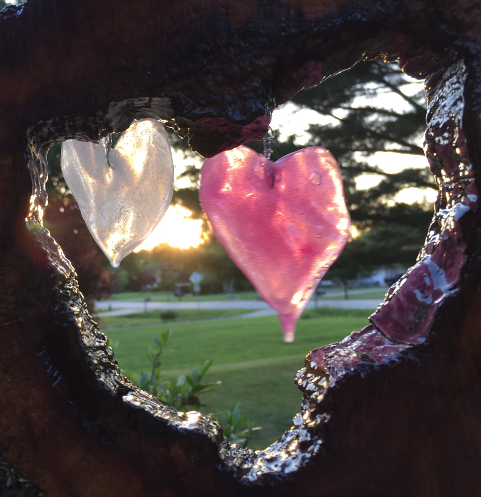 Dogwood Heart and 2 untitled glass hearts by Steven Simmons