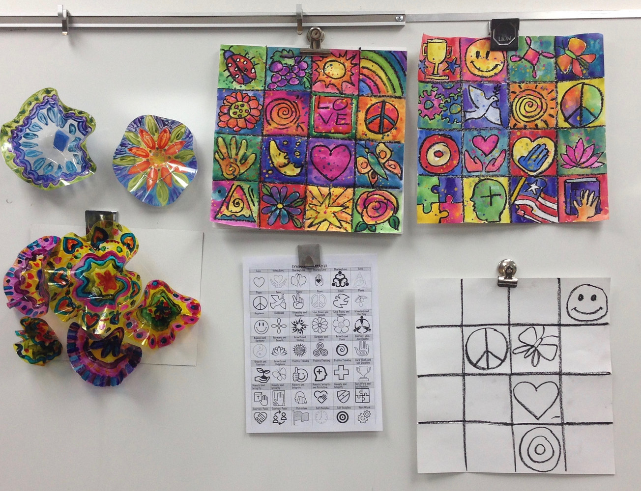Teaching Stained Glass Concept with Character Ed Symbols to 1st Graders by Linnie (Victoria) Aikens Lindsay