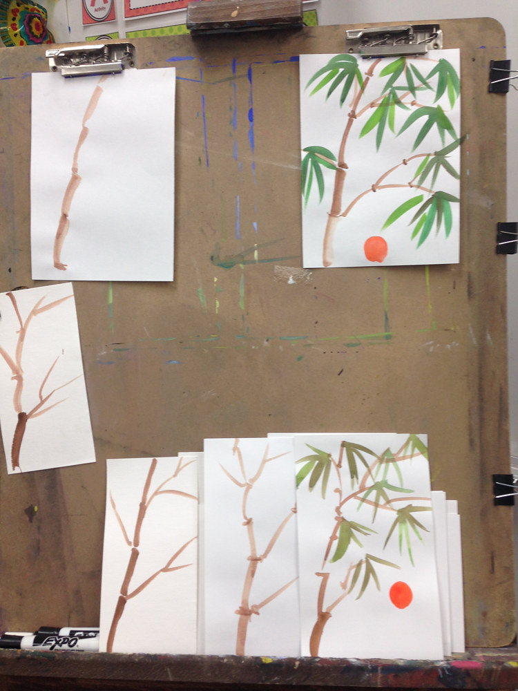 Teaching Asian Brush Painting to 2nd Graders by Linnie (Victoria) Aikens Lindsay