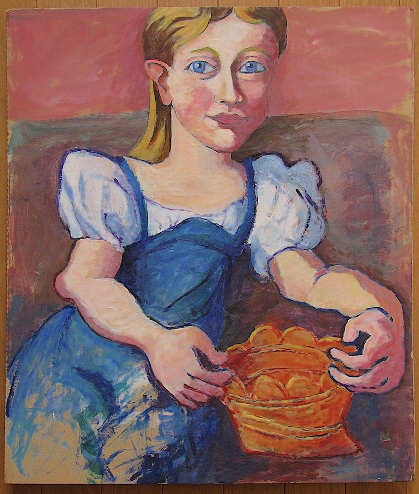 Acrylic painting Young Girl with Basket  by Gary Jenkins