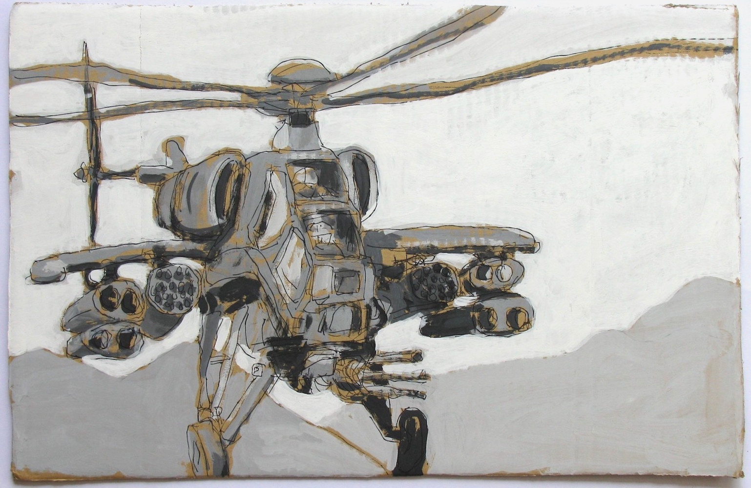 Acrylic painting Monochrome Helicopter  by Gary Jenkins