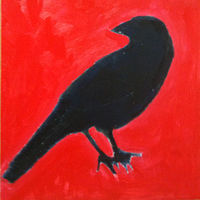 Oil painting CROW by Edith dora Rey