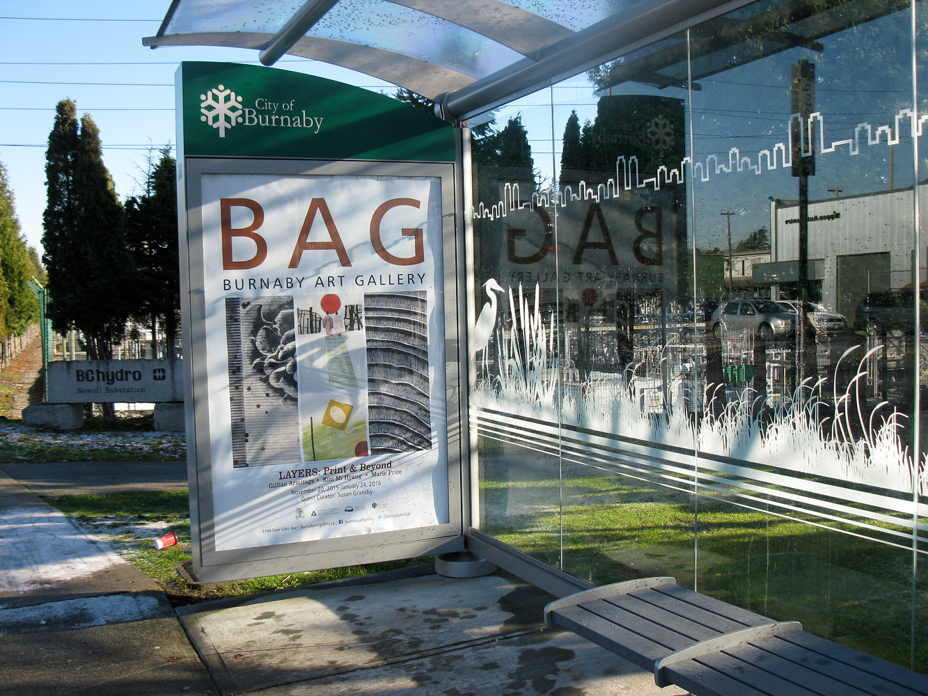 Layers bus shelter ad by Susan Gransby