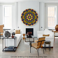 Virtual Room - Sculpted Sunburst Mandala in a room by Francisco Costa by John Hovig