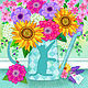 Watering Can with Cat Silhouette with Flowers  by Valerie Lesiak