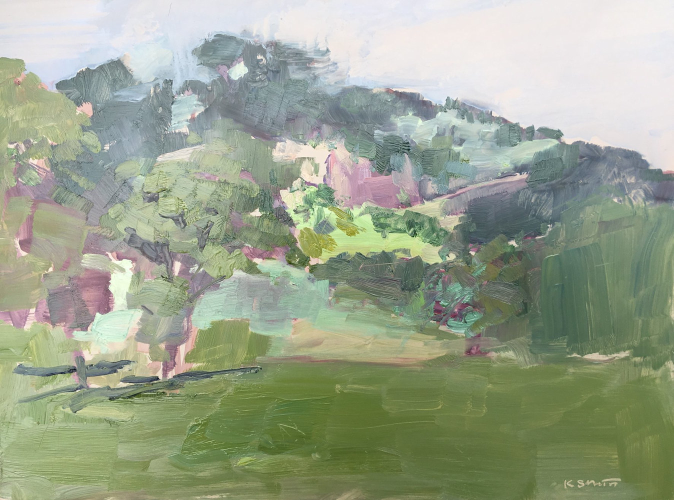 Chautauqua, low clouds (Plein air) by Karen Smith