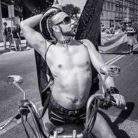 Biker with Bat Wings, Gay Pride Parade, Albuquerque, NM 2018 by Jim Holbrook