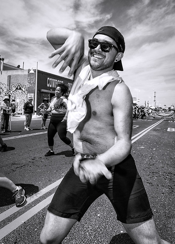 Street Performer, Gay Pride Parade, Albuquerque, NM 2018 by Jim Holbrook