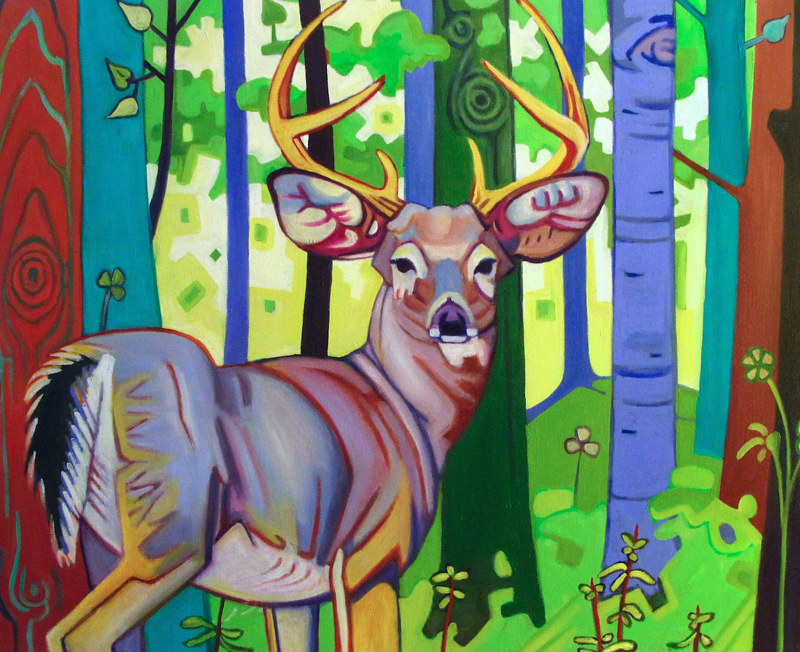 Oil painting Deer in the deadlights by Claire Cepukas