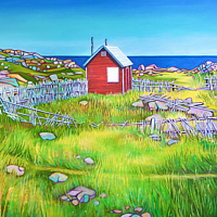 Oil painting Little Red Shack, Newfoundland by Claire Cepukas