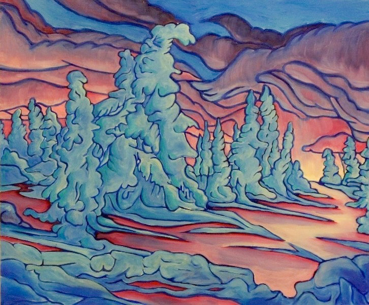 Oil painting Revelstoke at Dawn by Claire Cepukas
