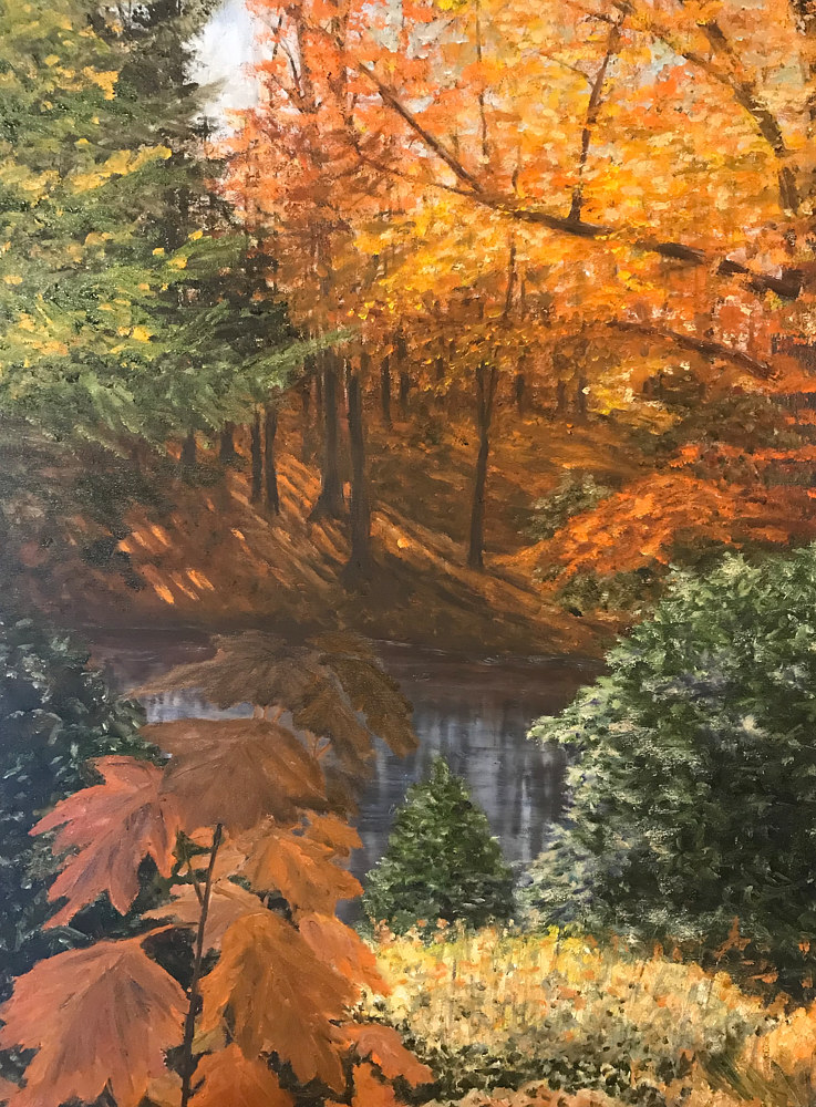 Oil painting Fall Reflections by Yvonne Shaffer