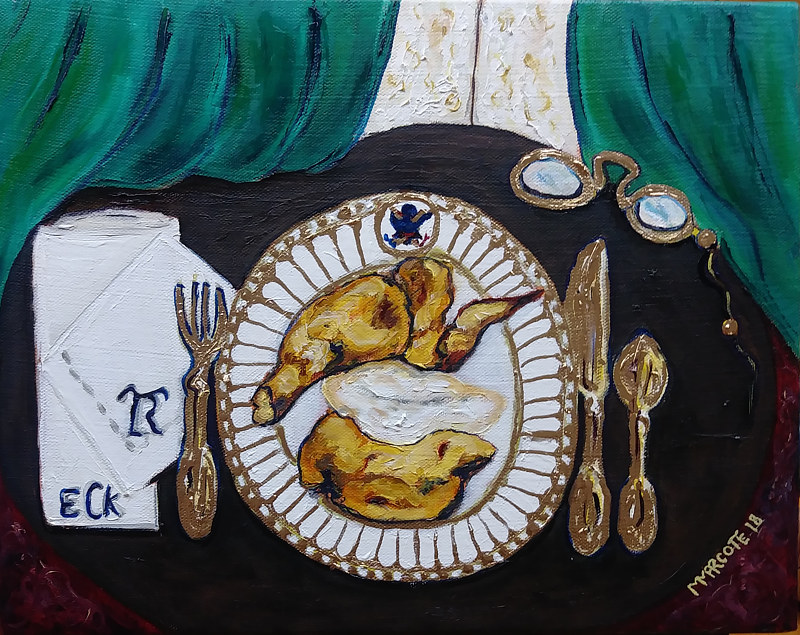 Oil painting Theodore Roosevelt's Lunch by Michelle Marcotte