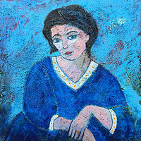 Acrylic painting Woman in Blue by Bernard Scanlan
