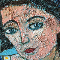 Acrylic painting Close-up on pumice texture on Woman in Blue by Bernard Scanlan