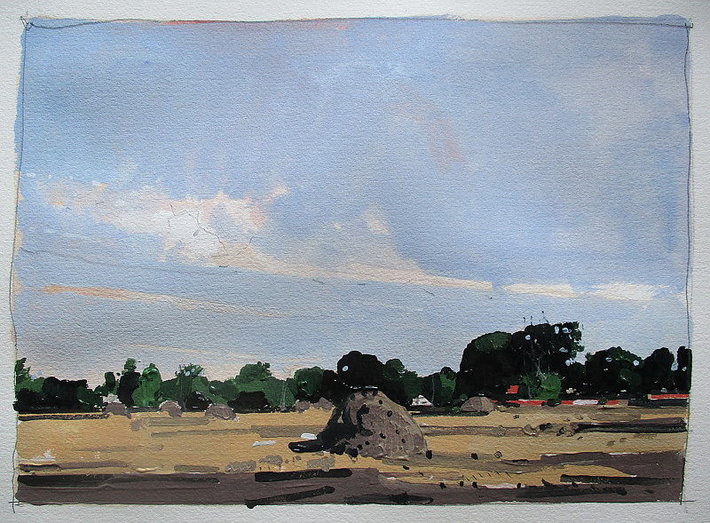 Acrylic painting Saturday Morning, Development Site by Harry Stooshinoff