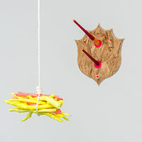 Untitled (Swinging Bundle Yellow) and Untitled (Taxidermie Wall Hooks) by Magali Hebert-Huot