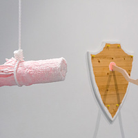 Untitled (Swinging Bundle Crystal) and Untitled (Taxidermie Baltic Birch) by Magali Hebert-Huot