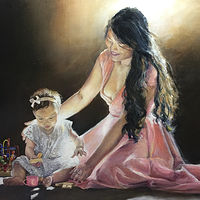 Oil painting Precious Moment by Betty Ann  Medeiros