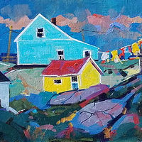 Wash Day Peggys Cove   Acrylic 11x14 2018 by Brian  Buckrell