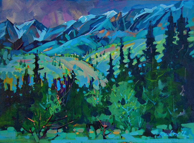 Light on the Foothills - Yohoo NP - Acrylic 12x16 2011 by Brian  Buckrell