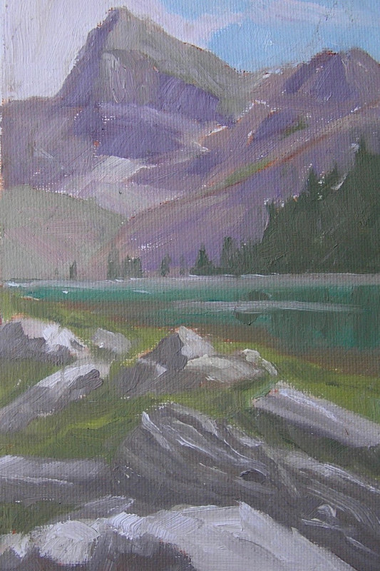 Painting Eva Lake, Revelstoke National Park 5x8 -oils by Cecilia Lea