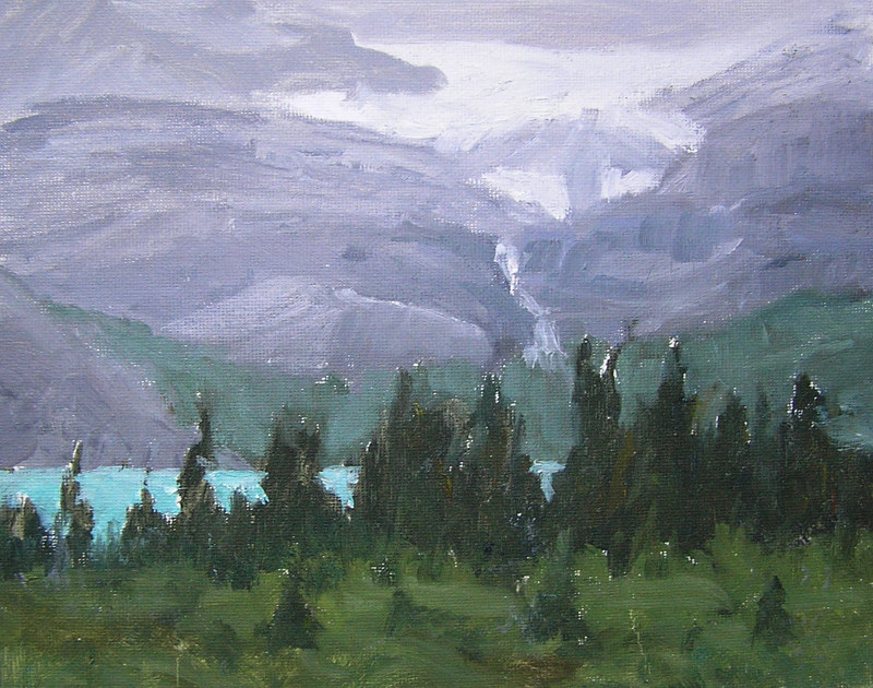 Painting Rainy Day Bow Lake #2, Banff National Park, 8x10 oils by Cecilia Lea