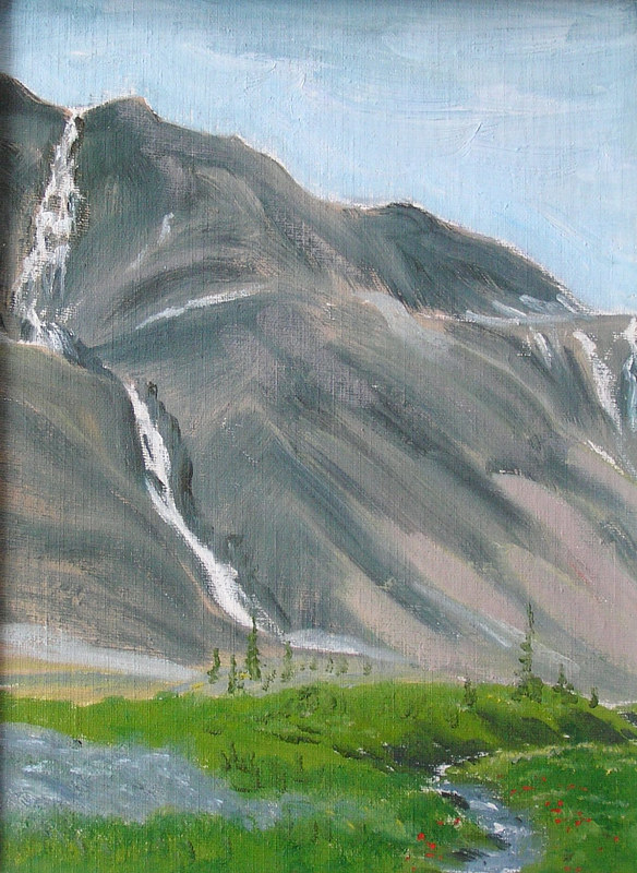 Painting Rim Waterfalls #1 - 9x12 oils by Cecilia Lea