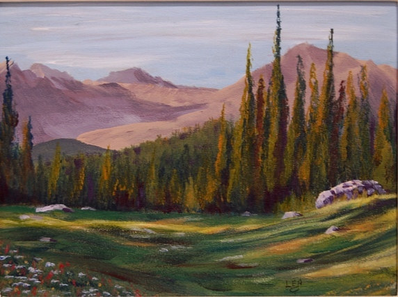 Evening Light, Meadows In The Sky, 9x12 acrylic by Cecilia Lea