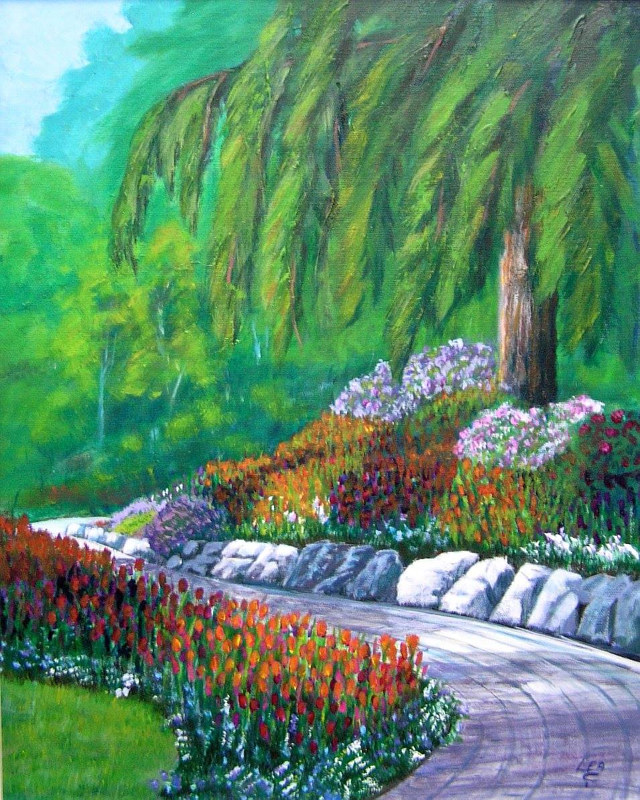 Tripping Through the Tulips, Butchart Gardens, Vancouver Island 20x16 acrylics by Cecilia Lea