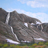 Oil painting Rim Waterfalls#2, Selkirk Mountain Experience, Durand Glacier by Cecilia Lea