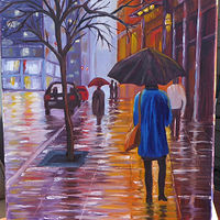 Oil painting Shimmering City Streets - 16x20 oils by Cecilia Lea