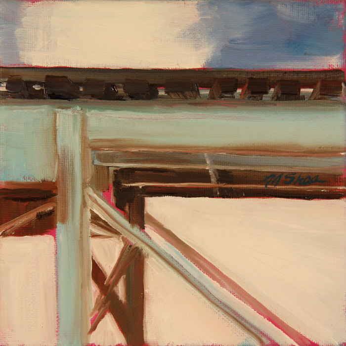 Oil painting l train tracks  by Madeline Shea