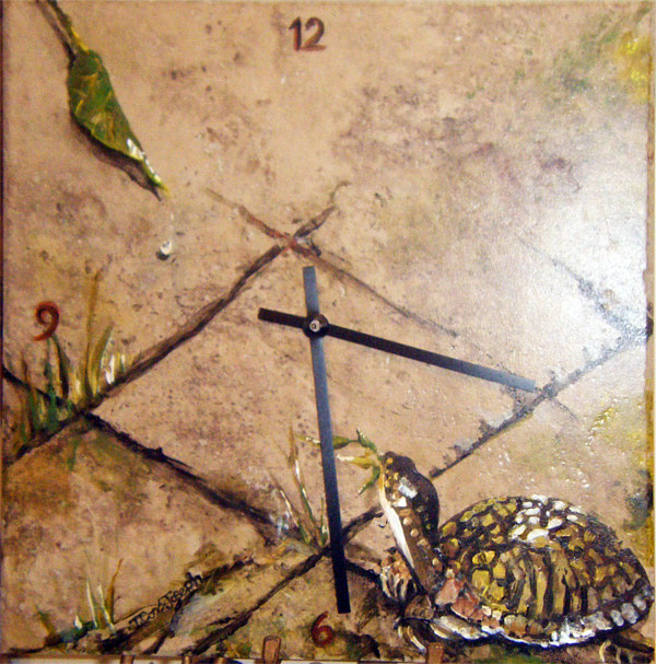 TileClockTurtleLeaf1small by Terry Joseph