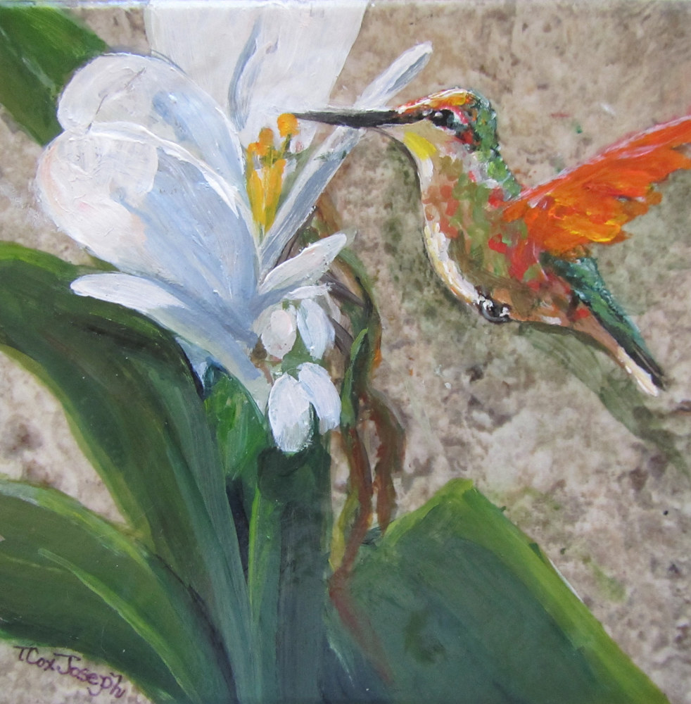 Orange Hummingbird Tile with White Ginger Lily by Terry Joseph