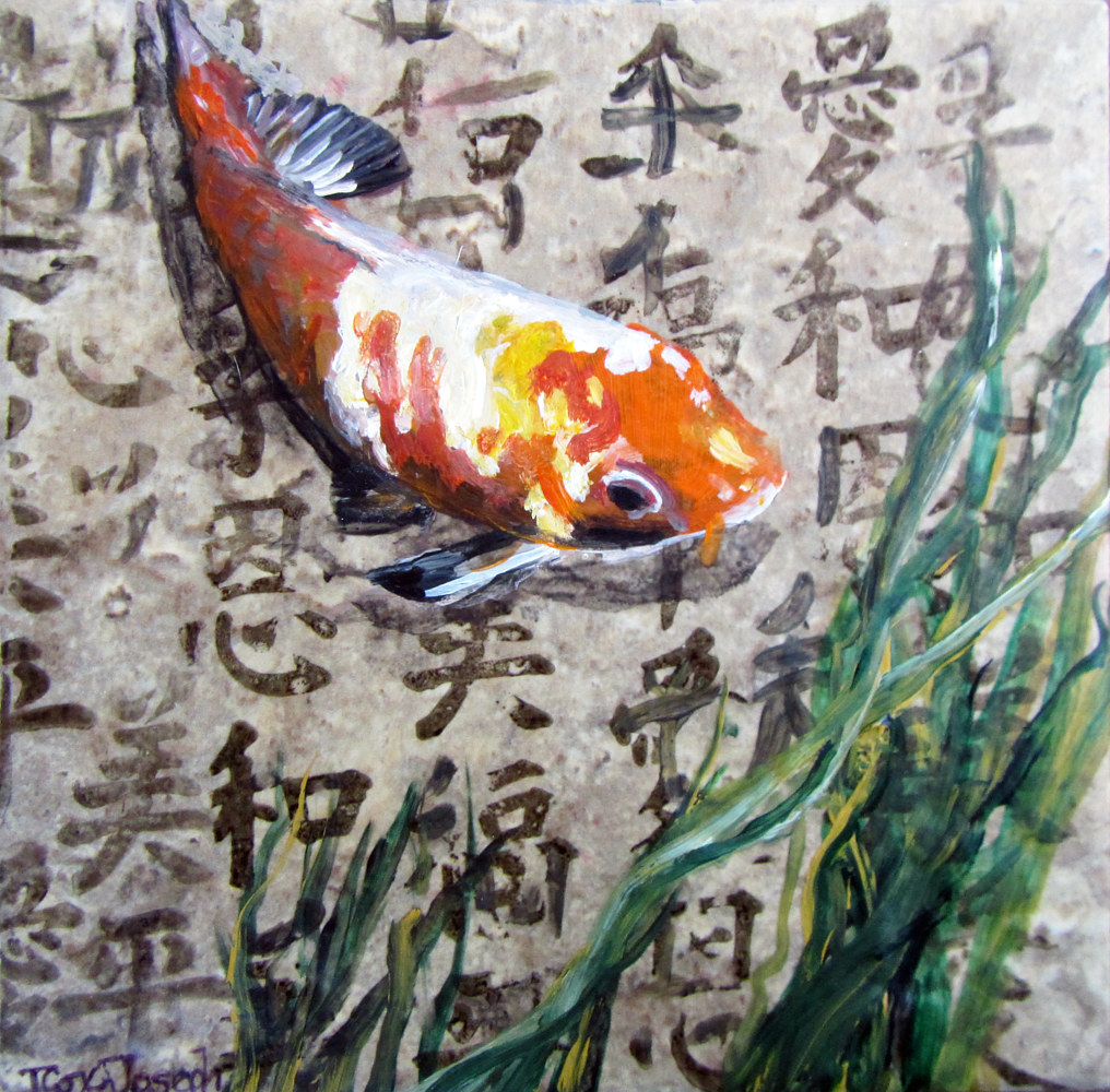 OrangeandwhiteKoiKanji6inches by Terry Cox-Joseph