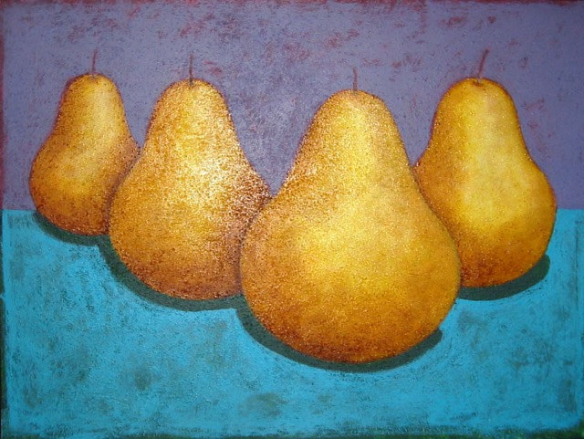 Acrylic painting Four Big Pears by Allyson Malek