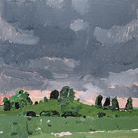 Acrylic painting The Secret Field, Rain Coming by Harry Stooshinoff