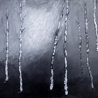 Acrylic painting Midnight Birch by Aimee Rudge
