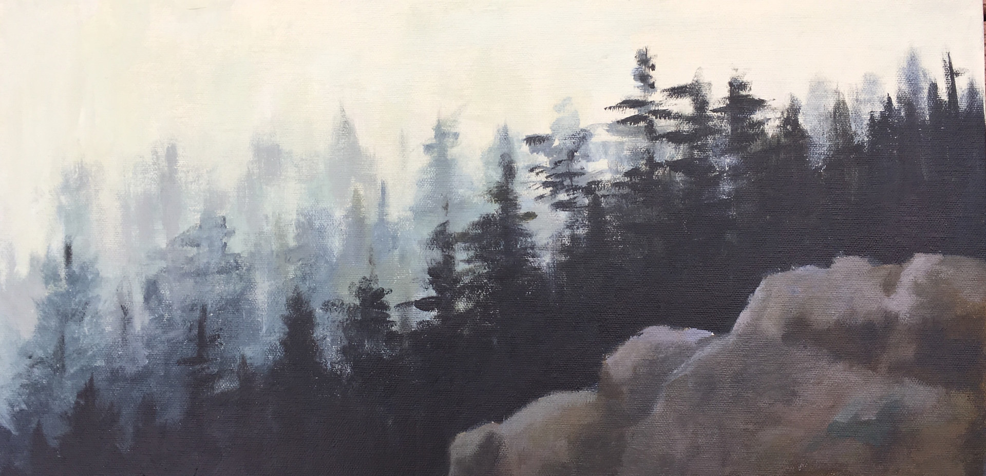 Acrylic painting Smoky Forest by Aimee Rudge