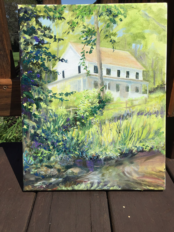 Oil painting The Parsonage, New Fairfield, CT by Betty Ann  Medeiros